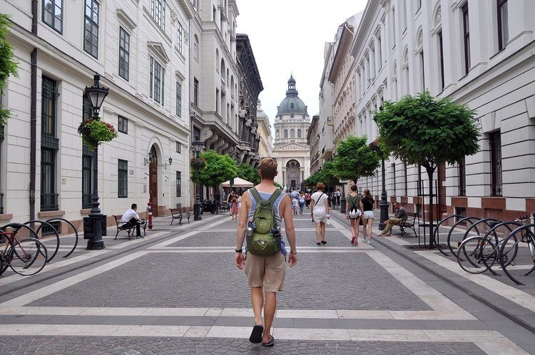 A man backpacking in Eastern Europe