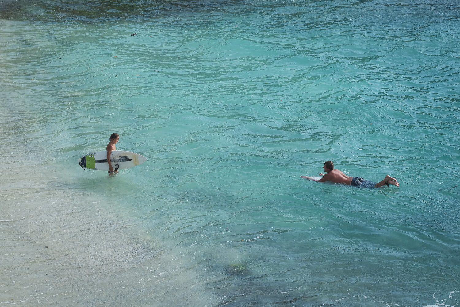 surfing on nusa lembongan father son