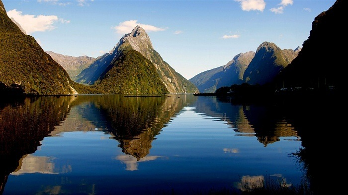 Kayaking in Milford Sound on a clear day