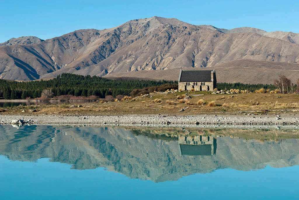 The church of the good shepard at Lake Tekapo is a famous South Island highlight