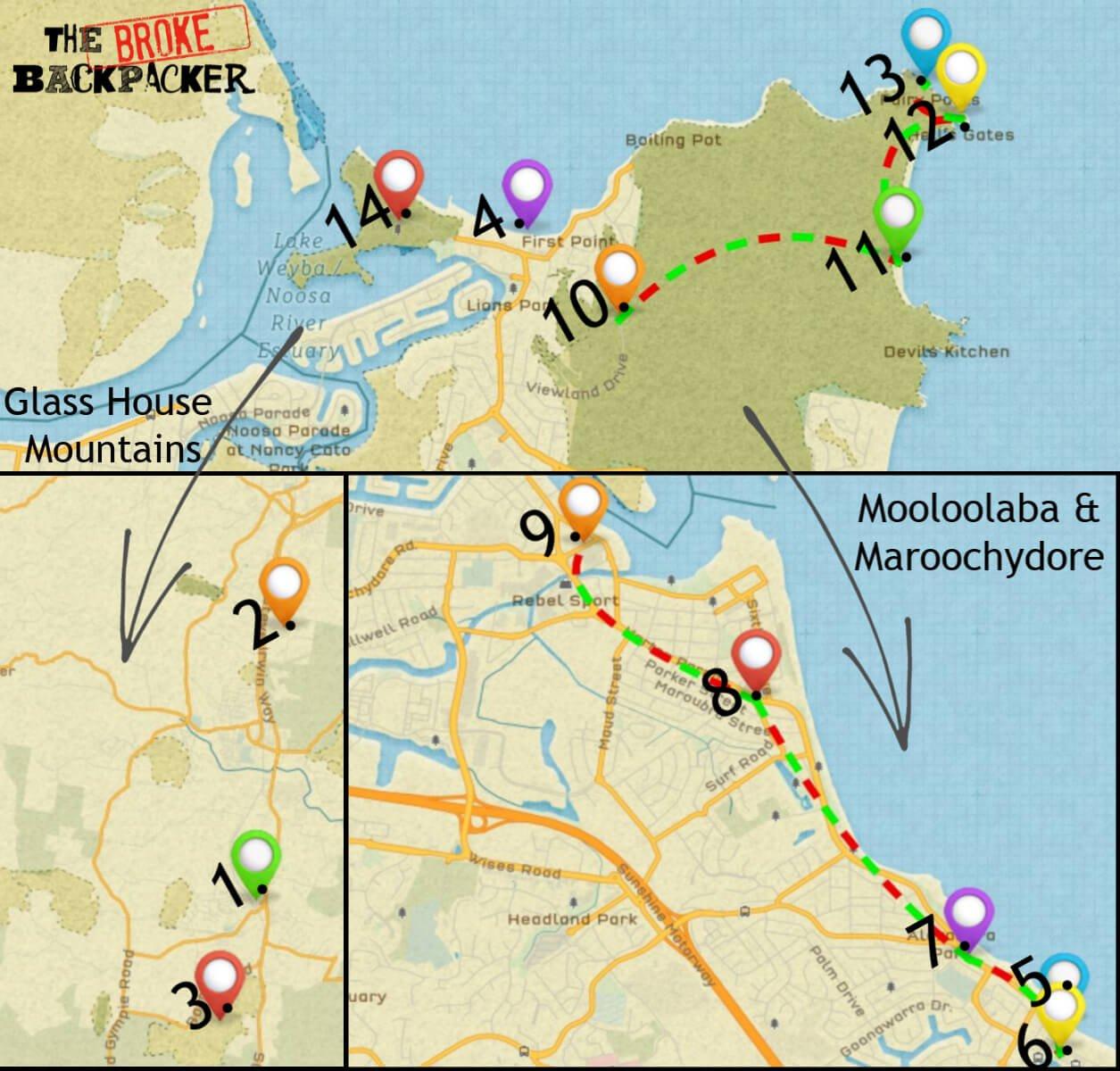 Map of the Sunshine Coast itinerary