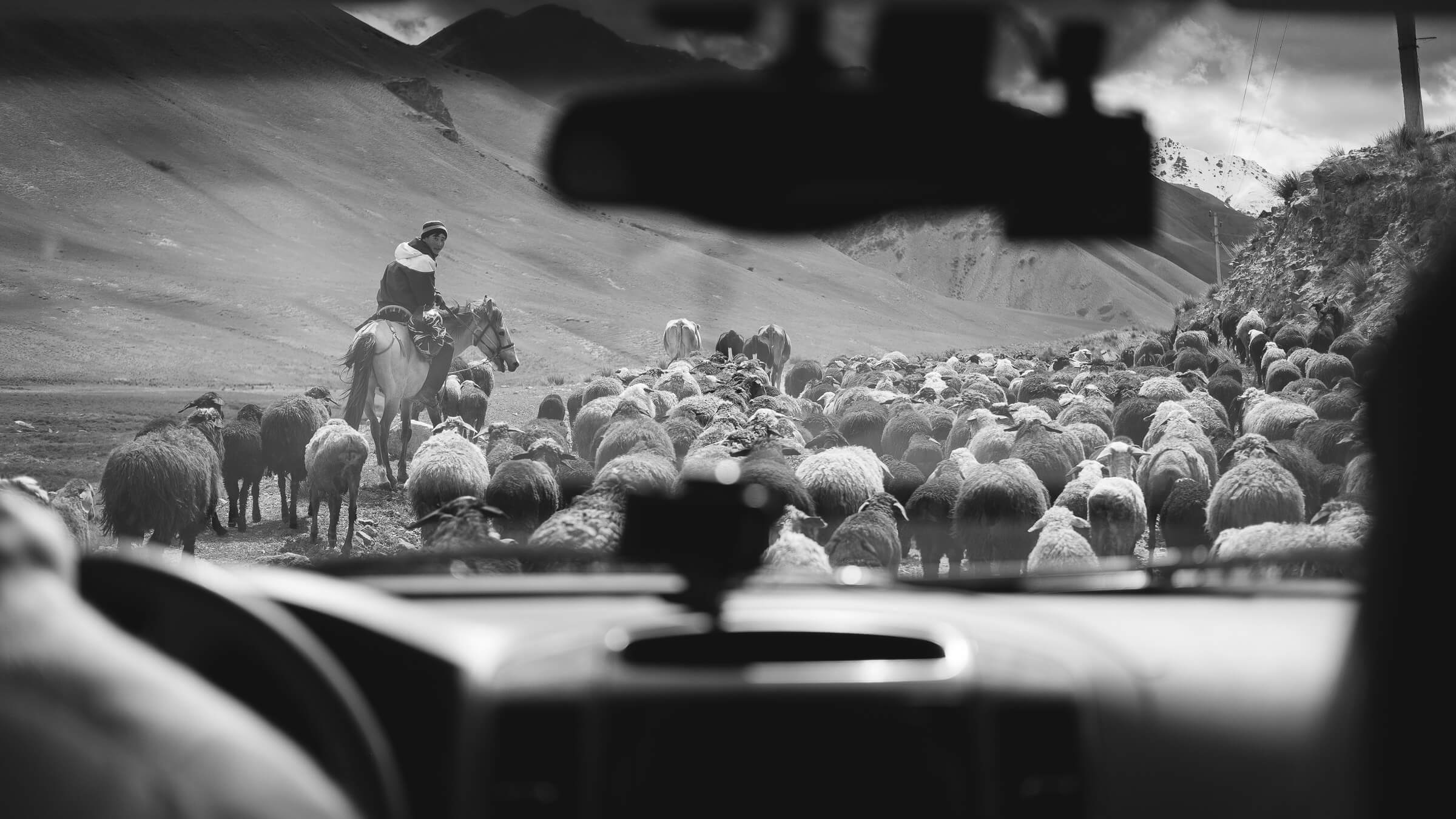 driving in kyrgyzstan with nomads
