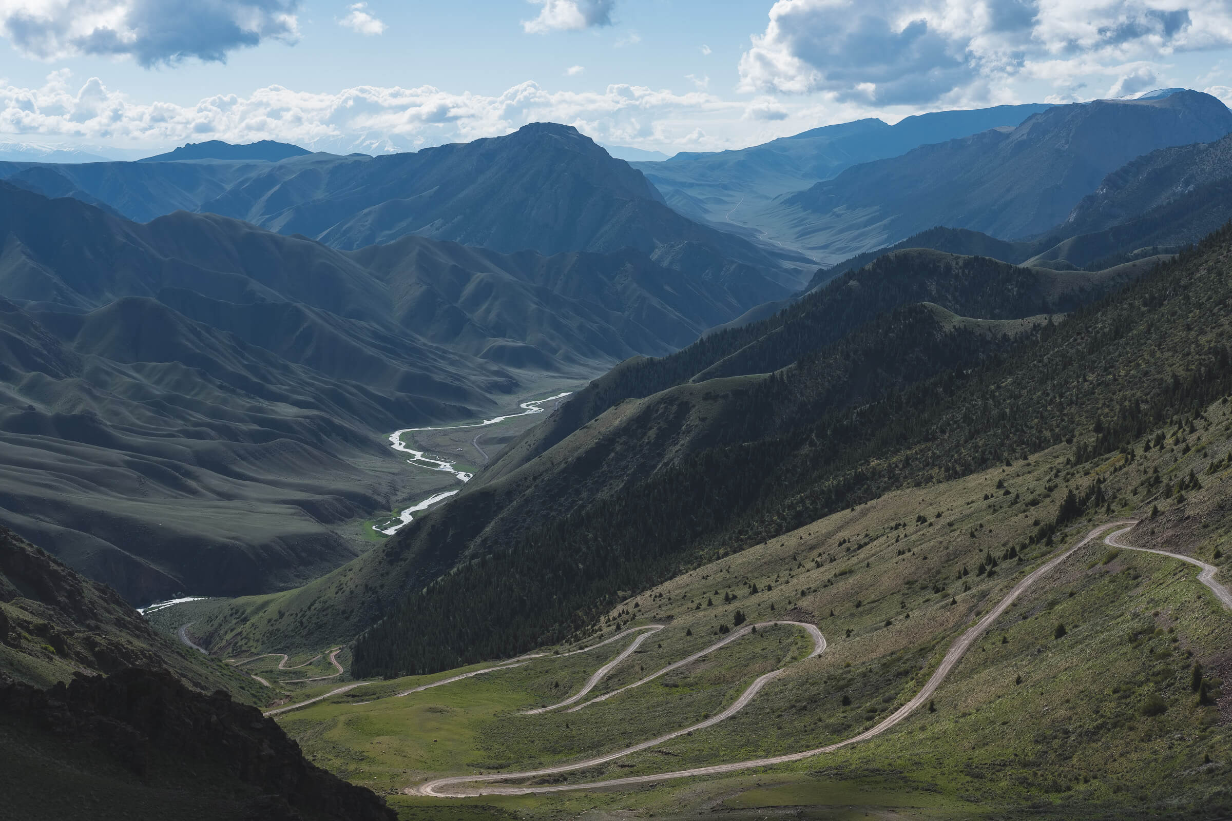 winding mountain roads in kyrgyzstan
