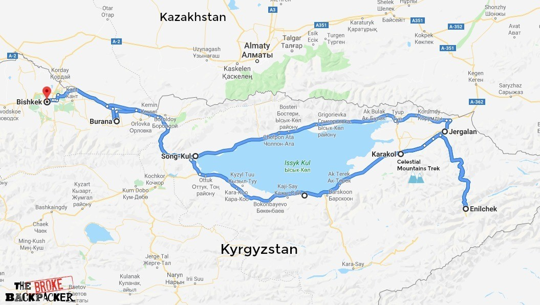 Kyrgyzstan itinerary map