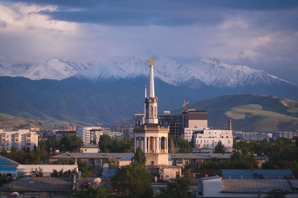 sunset in bishkek kyrgyzstan