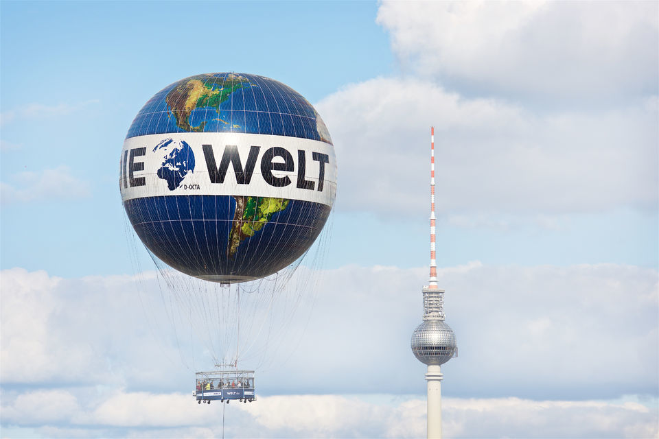 Ride up and see the view at the World Balloon in Berlin.