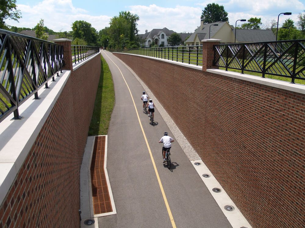 Do recreational activities at the Monon Rail Trail in Indianapolis.