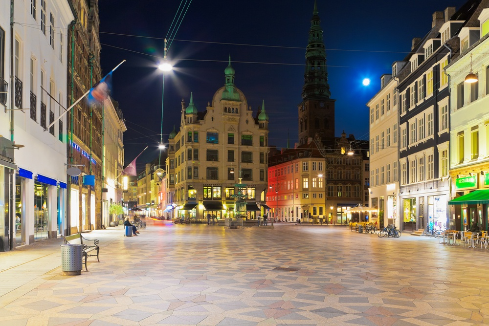 See Copenhagen lit up at night