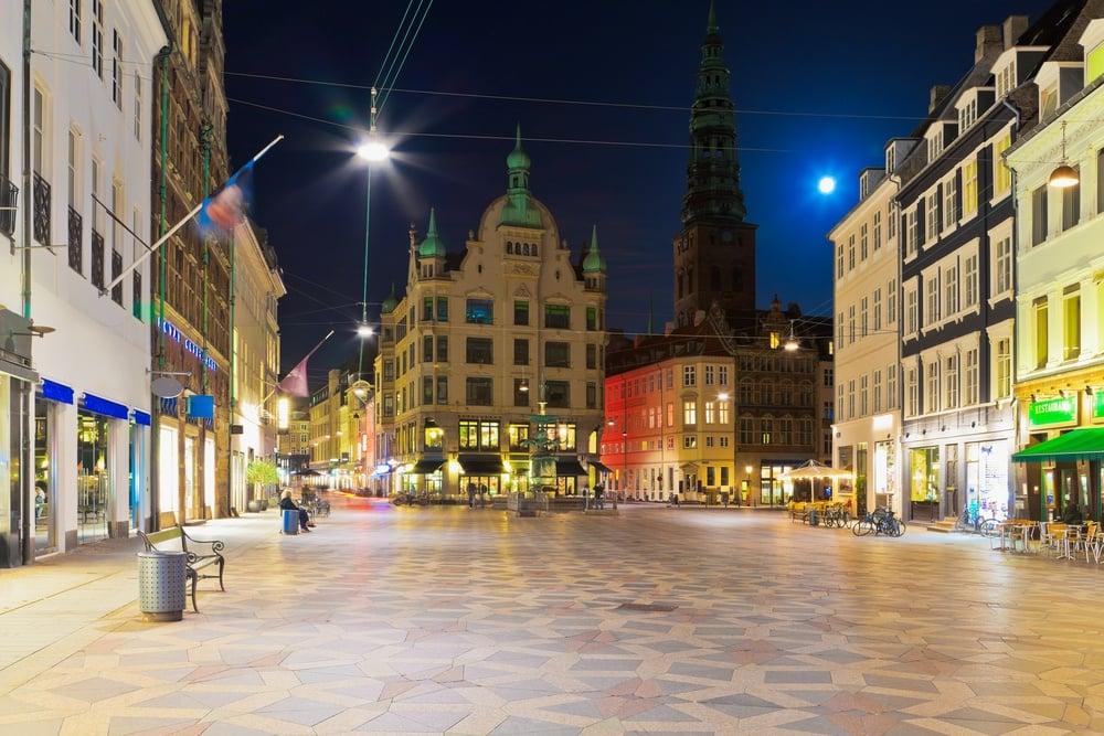 See Copenhagen lit up at night