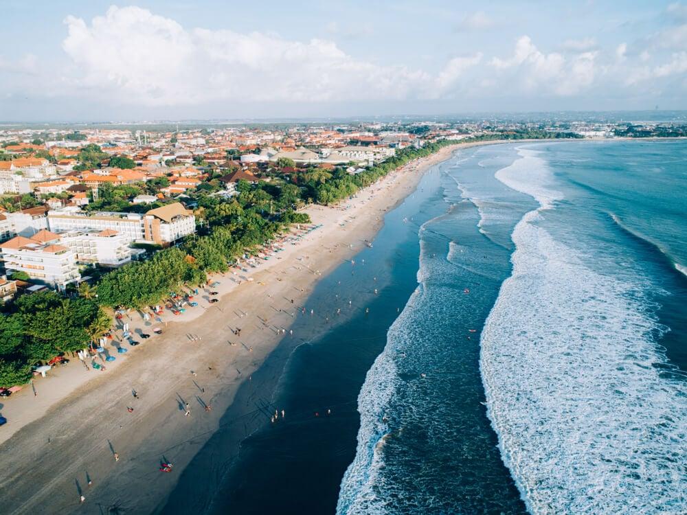 kuta beach drone bali