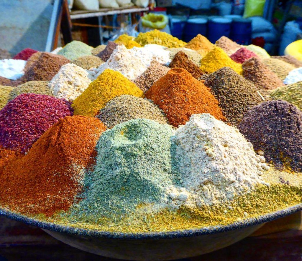 Piles of spices in a market in Afghanistan.