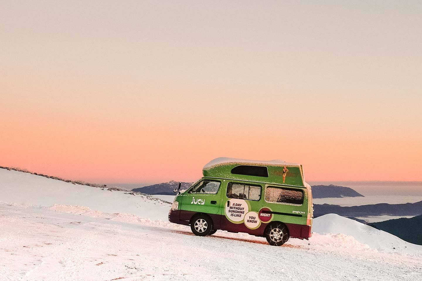 A JUCY van rental in the snow - premium choice for budget campervan hire in New Zealand and Australia
