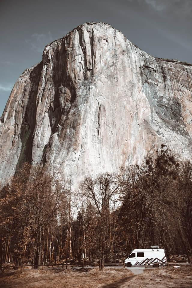 A van freedom camping in Yosemite, USA