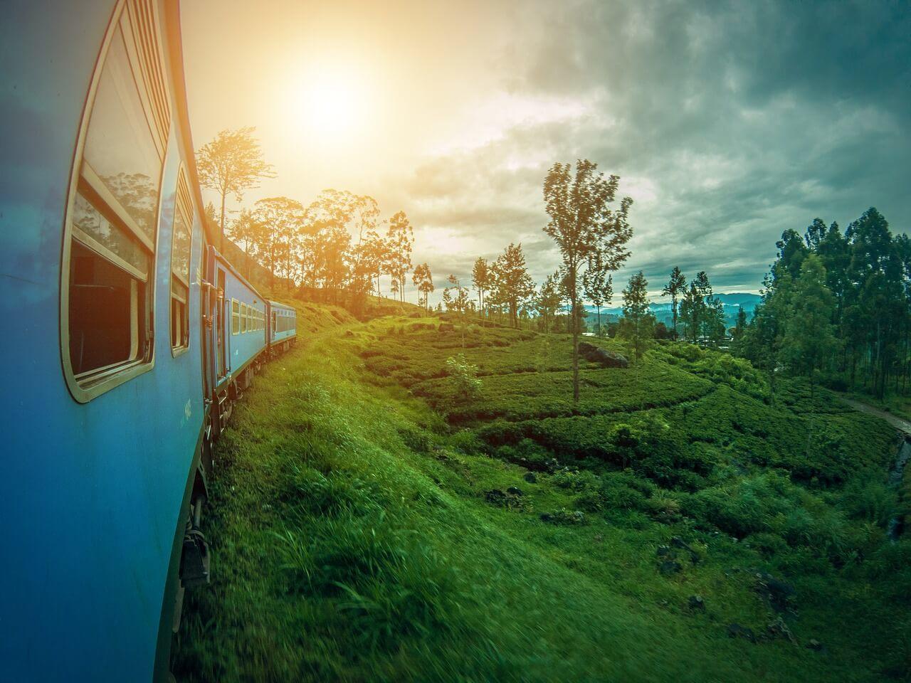 The Kandy to Ella train cutting through Sri Lanka's hill country