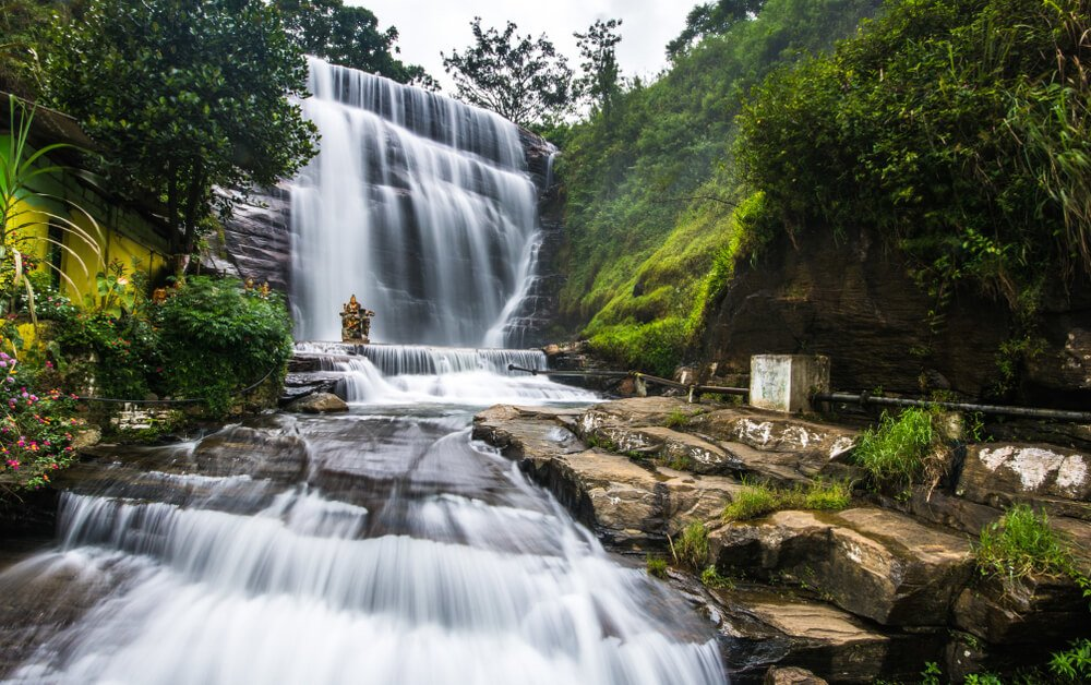One of many famous waterfalls in Sri Lanka