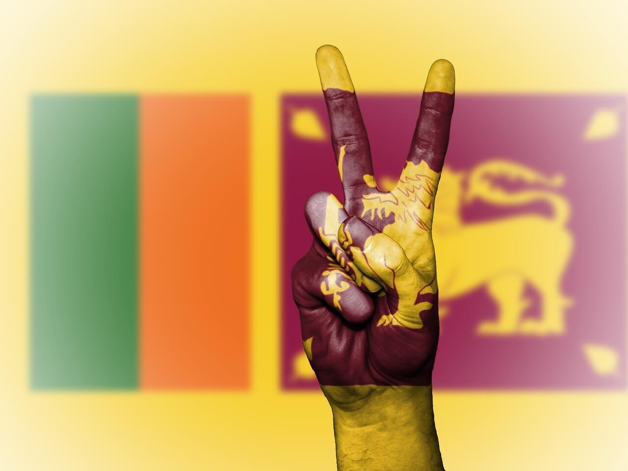 Peace sign over Sri Lanka's flag