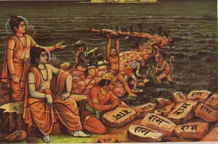 Image of the epic fable Ramayana portraying the building of Rama Setu