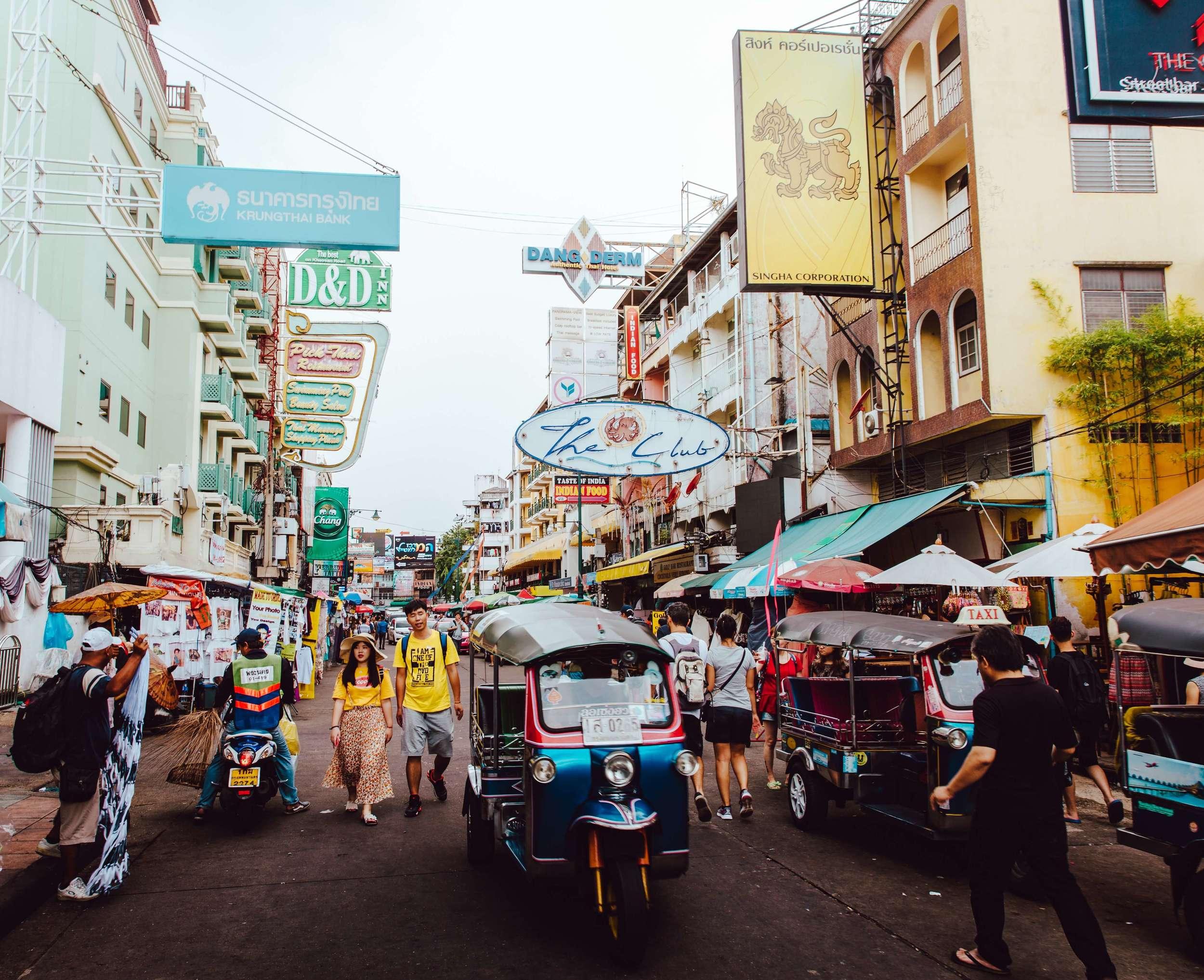 Busy Khaosan Road in Bangkok