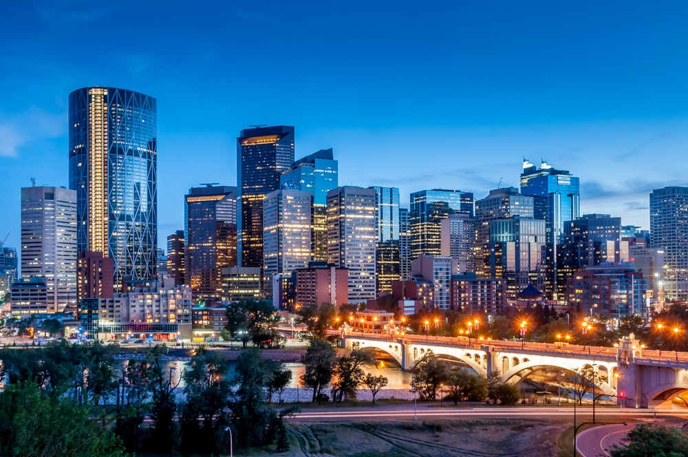 Calgary Bow River Centre at night.