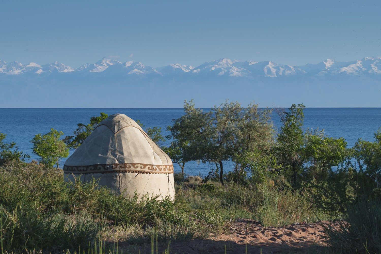 yurt camp on issyk kul kyrgyzstan