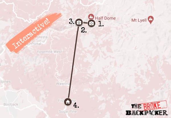 Day 2 Map Yosemite