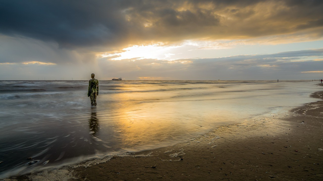 The famous iron man in Crosby Beach, Liverpool.