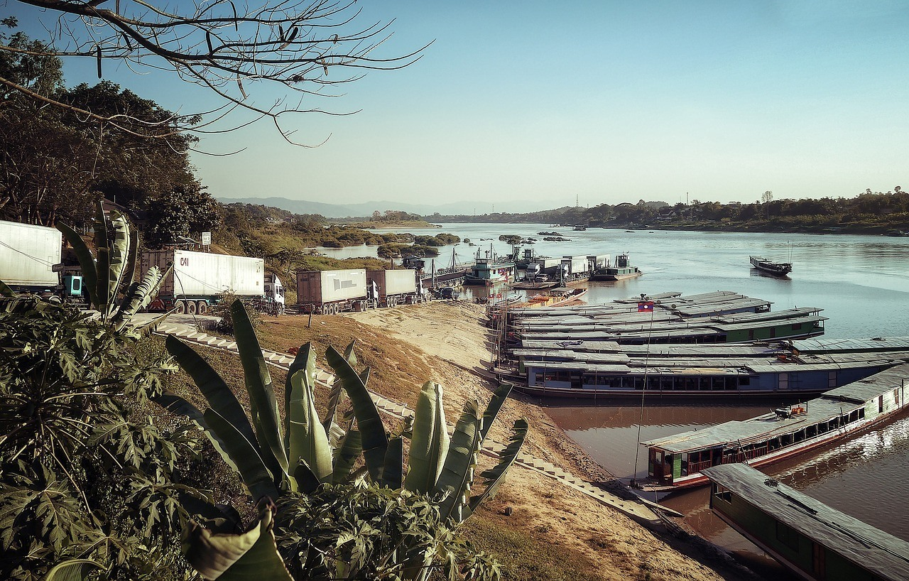 Mekong Riverfront, Luang Prabang - with many Laos slow boats
