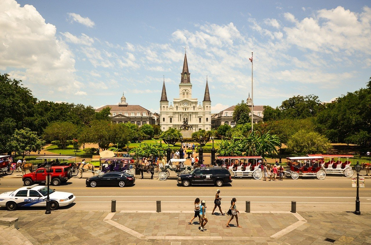 Stroll around Jackson Square in New Orleans.