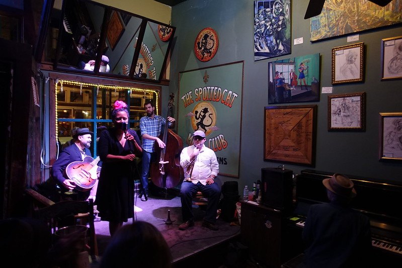 Listen to live jazz music at The Spotted Cat Music Club in New Orleans.
