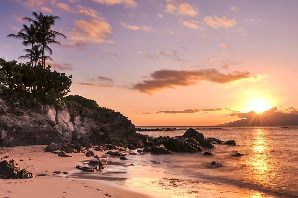 Kapalua Beach at sunset