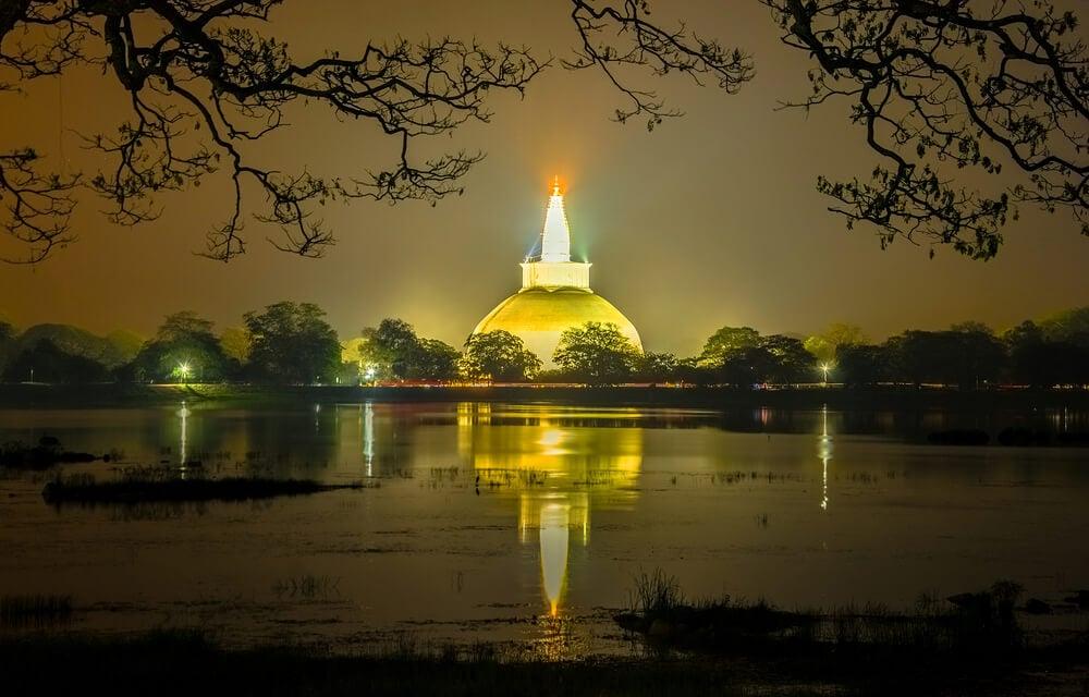 Anuradhapura temple lit up - a beautiful cultural attraction in Sri Lanka