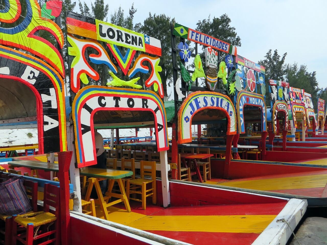 Party on a colourful barge