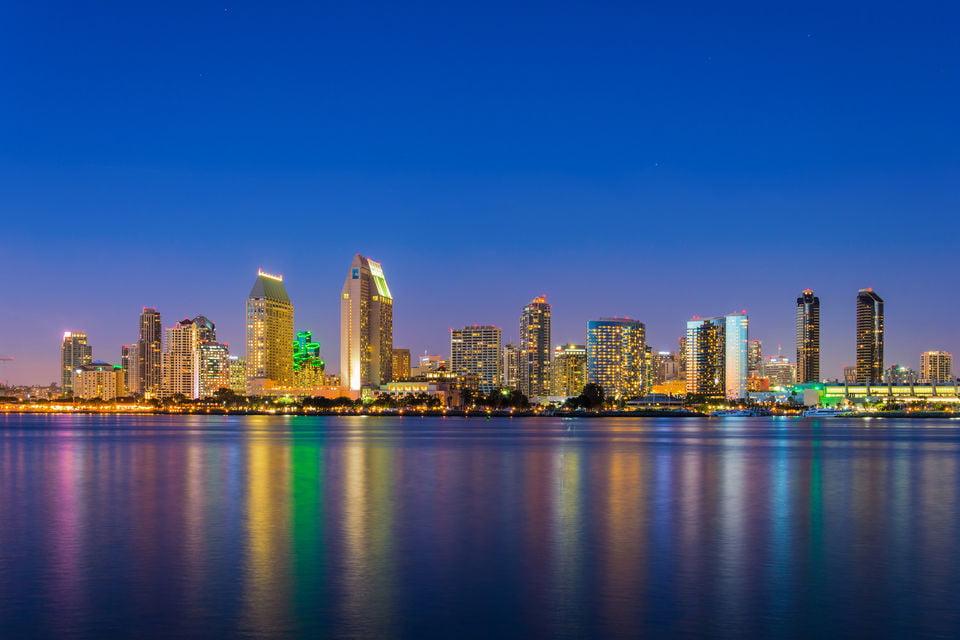 San Diego city lights at night.
