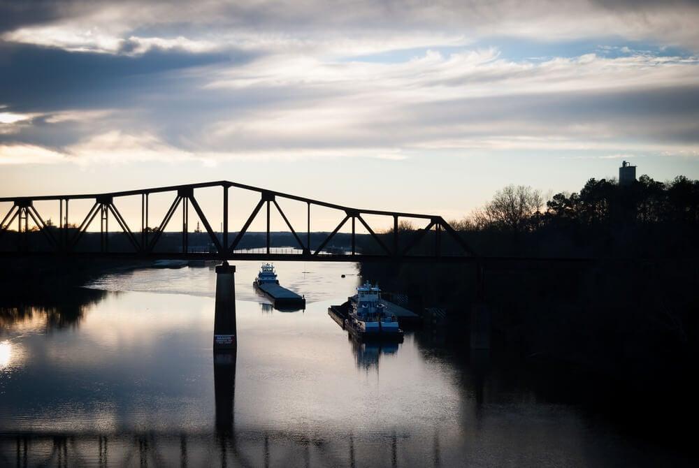 Railroad over river in Tuscaloosa, Alabama