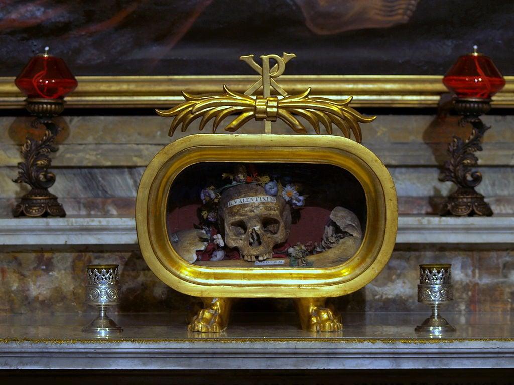 Skull of Saint Valentine - a famous historical landmark in Glasgow