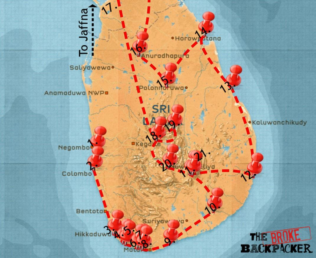 Full island itinerary for Sri Lanka map