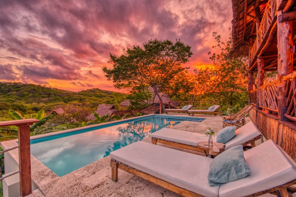 Incredible sunset at an affordable yoga retreat in Nicaragua