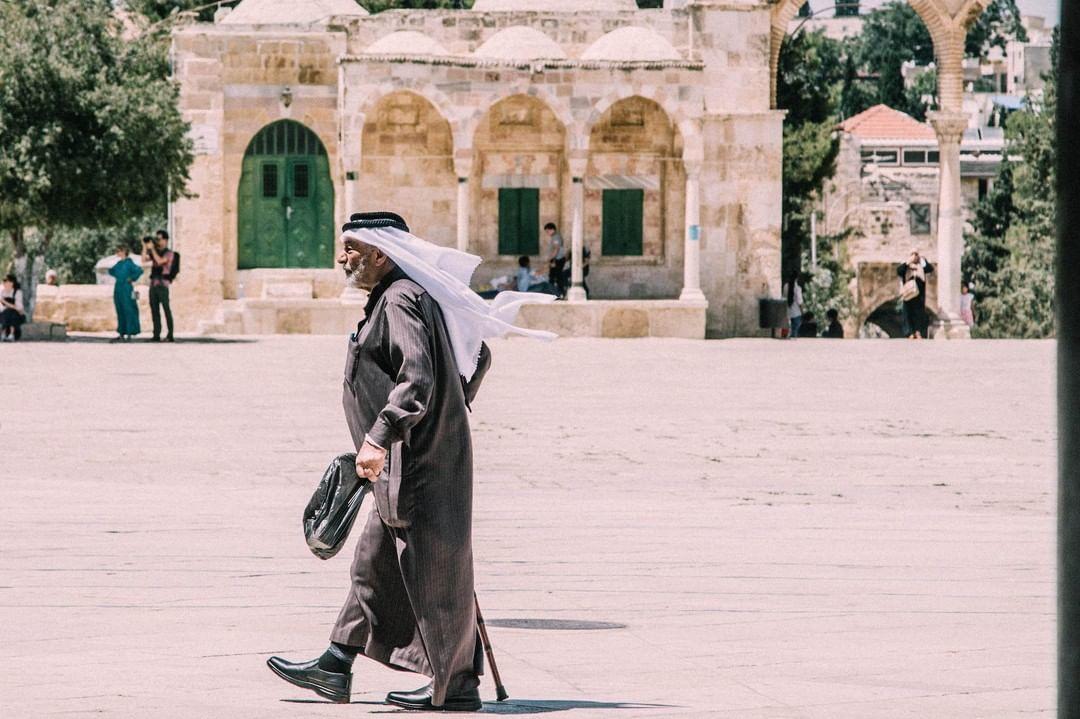 Muslim man taking a walking tour in Jerusalem