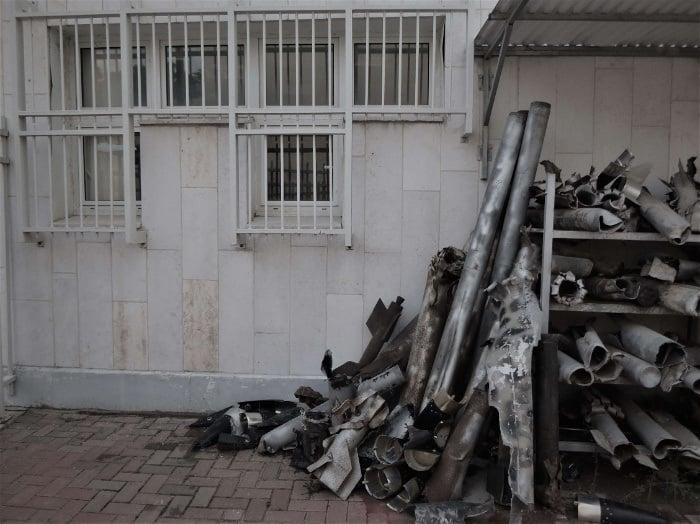Missile husks seen in Sderot while on the Abrham Gaza Border tour