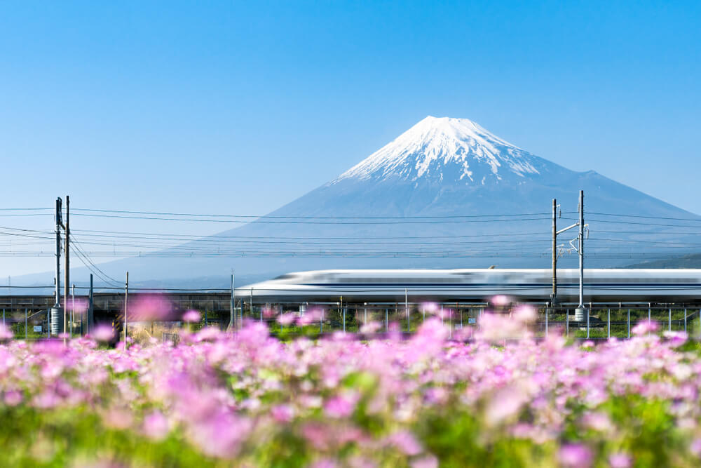 Shinkansen bullet train and Mt Fuji - beautiful highlight of Japan