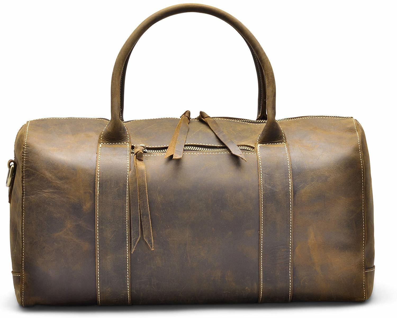 Holssen Genuine Leather Travel Sport Weekender Bag