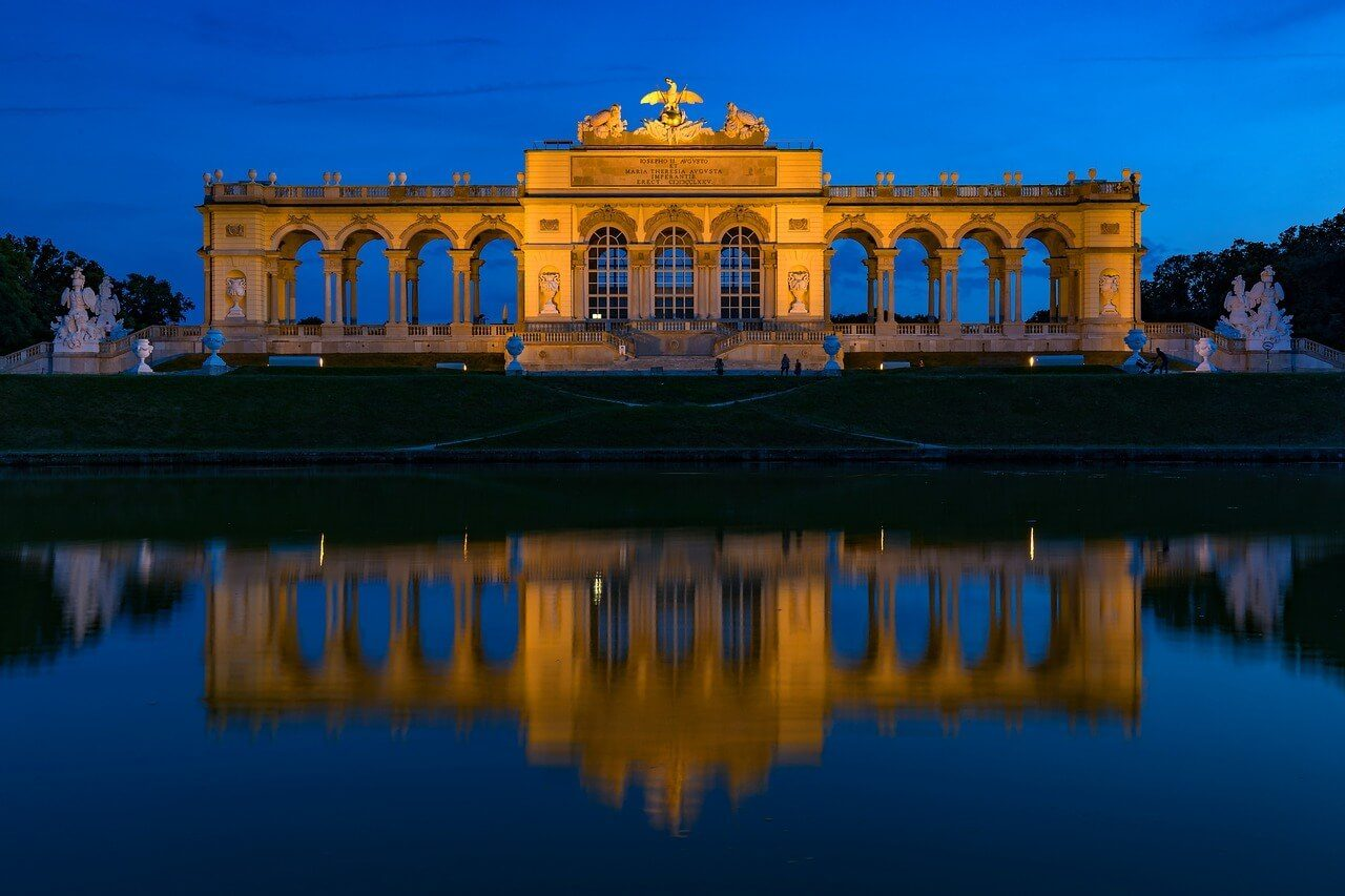 vienna palace reflections at night