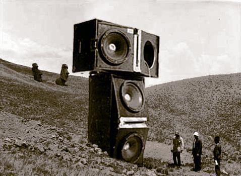 Fake image of speakers on Easter ISland