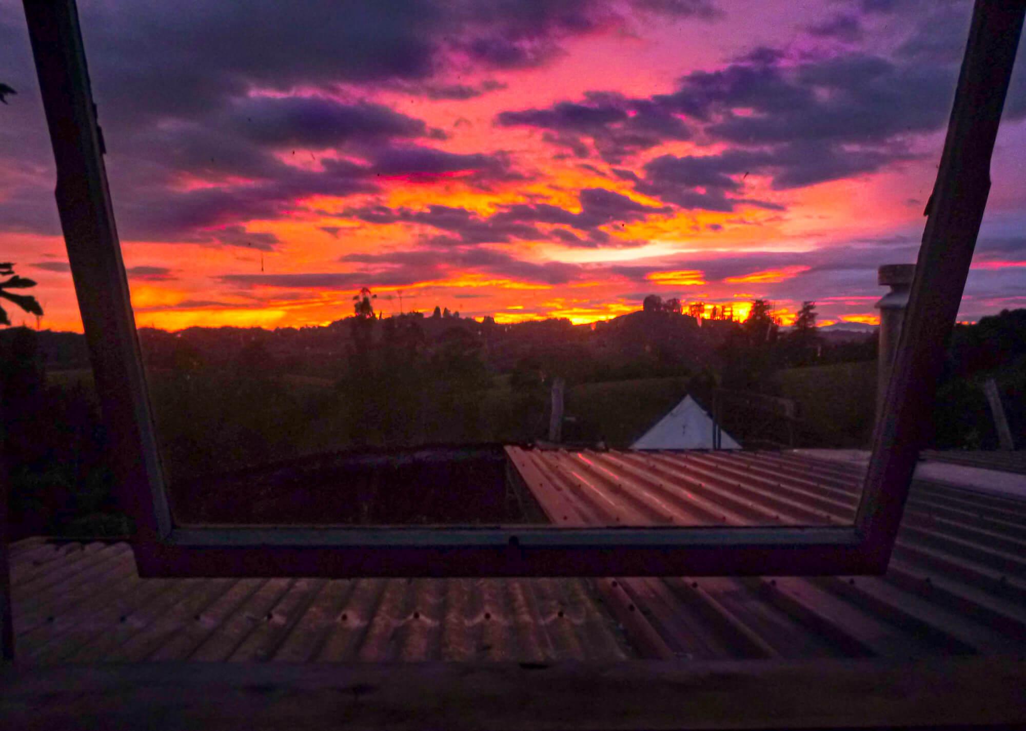 Sunrise at a farm while volunteering abroad