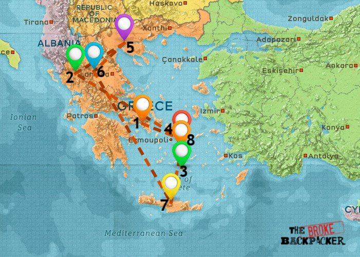 Map of Where to Stay in Greece