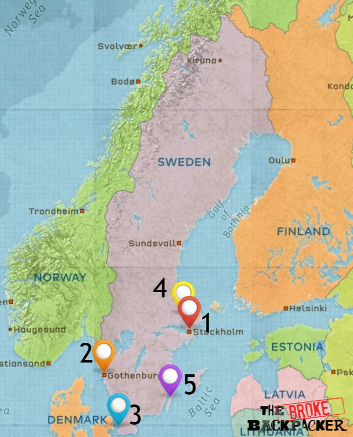 Map of Where to Stay in Sweden