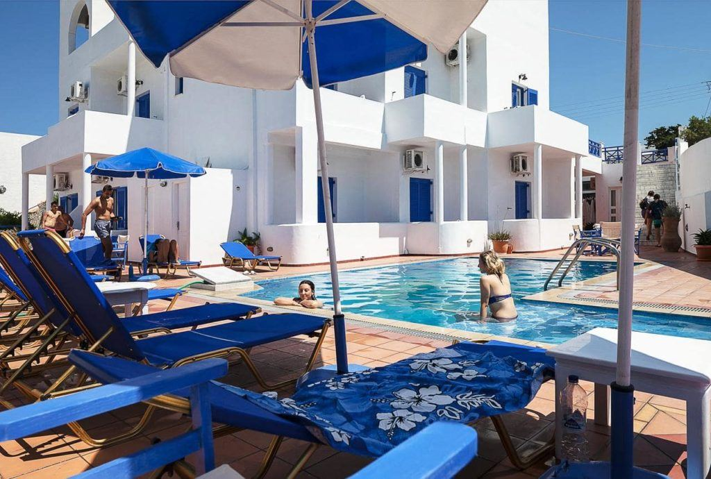 A beautiful tourist accommodation in Santorini with a pool