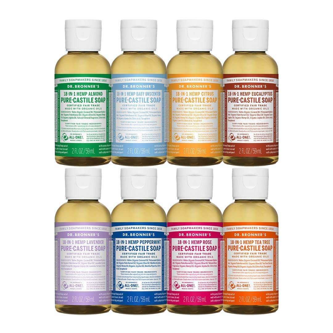 Dr. Bronner's soap selection and wonderful travel toiletry