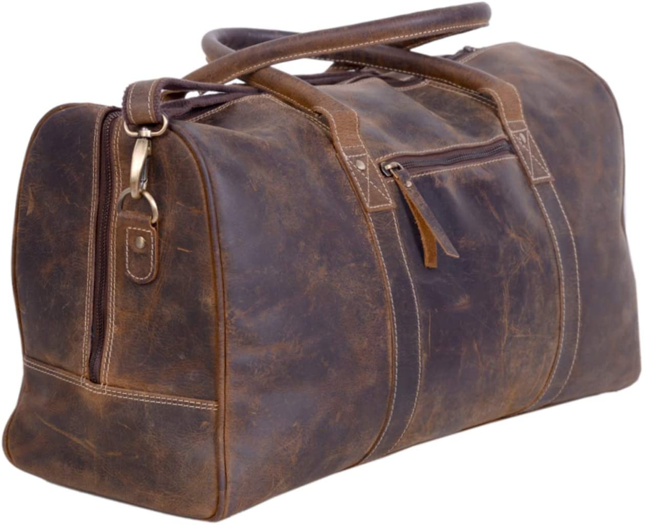KomalC Leather Travel Duffel Bag