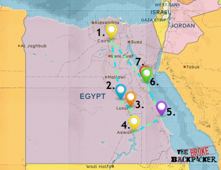 Map of Where to Stay in Egypt